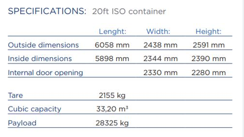 20ft shipping contianer specifications