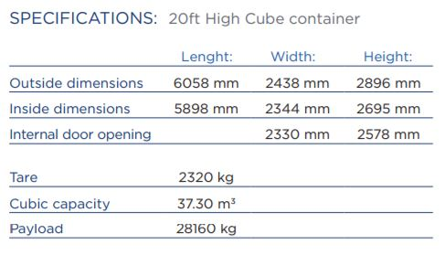 20ft shipping container high cube specifications